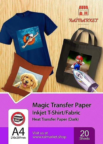 Hierro sobre papel de transferencia para tela oscura (Magic Paper) de Raimarket | 20 hojas | A4 Transferencia de hierro para inyección de tinta en papel / camiseta: Amazon.es: Oficina y papelería