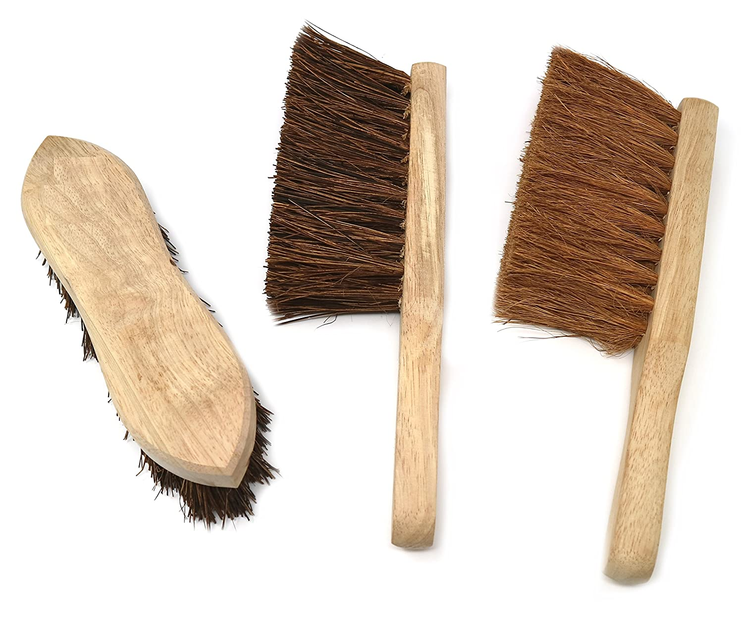 Hand Brushes, Pack of 3, Sweeping and Scrubbing Wooden Cleaning Brushes Clay:Roberts