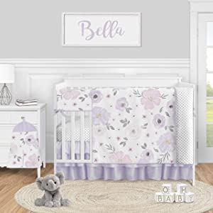 Sweet Jojo Designs Purple Watercolor Floral Baby Girl Nursery Crib Bedding Set - 5 Pieces - Lavender Pink and Grey Shabby Chic Rose Flower Polka Dot