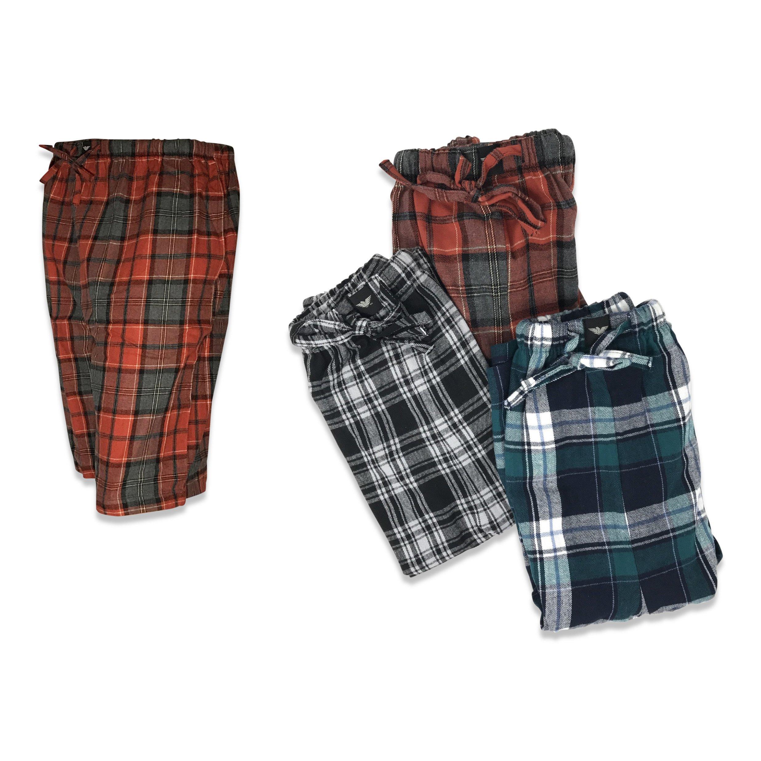 American Active 24/7 Basics Men's 3 Pack Cotton Soft Sleep Lounge Pant Jam Cargo Shorts (4XL, 3 Pack - Plaid Assortment)