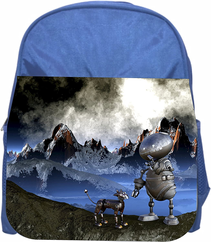 Robot and Dog Boys Blue Preschool Toddler Childrens Backpack /& Lunch Box Set