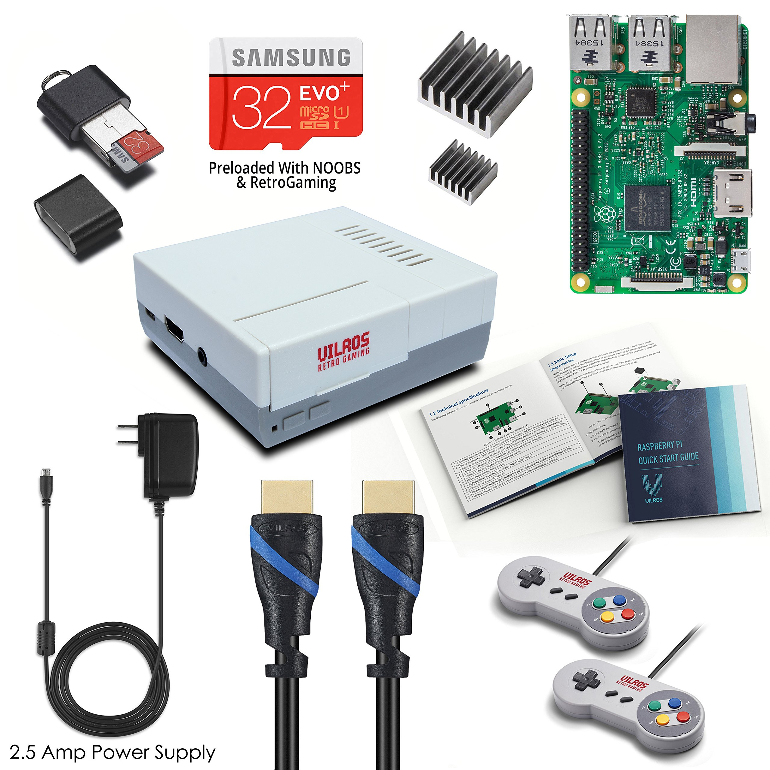 Vilros Raspberry Pi 3 RetroPie Arcade Gaming Kit with 2 Classic USB Gamepads by Vilros