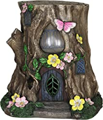 Exhart Gardening Gifts – Fairy House Tree Stump Statue - Large Garden Statues w/Solar Garden Lights, Outdoor Use, Fairy Themed Garden Décor, Weather Resistant Resin Statues