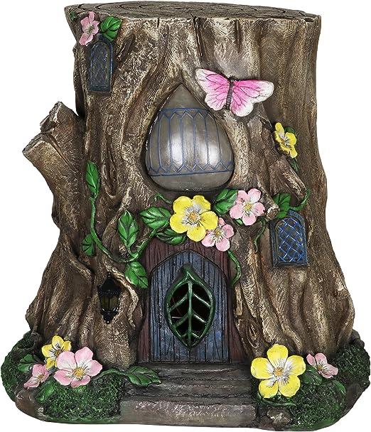 Miniatura Jardín de hadas solar de tocón de árbol casa: Amazon.es: Jardín