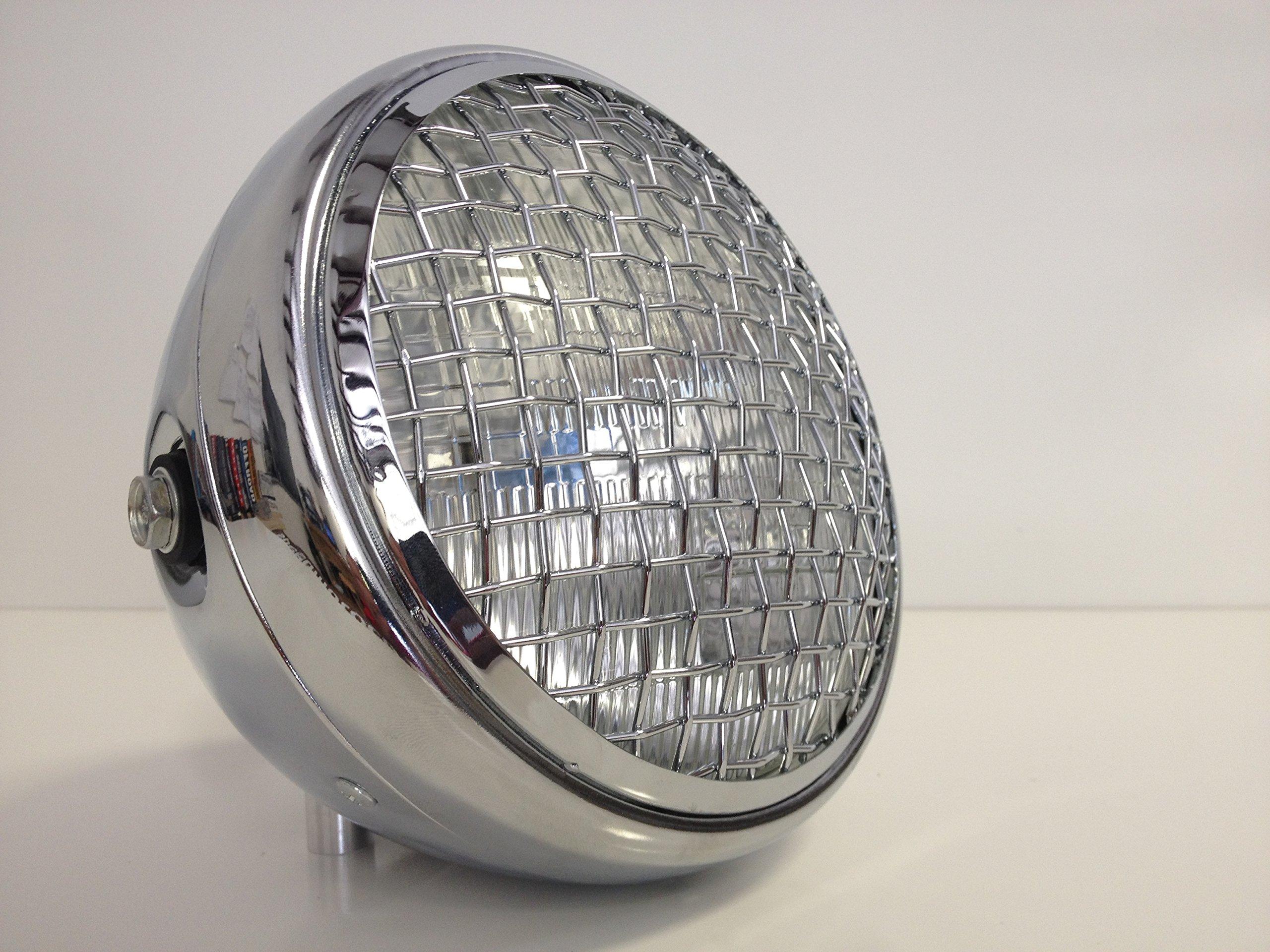 Wire Mesh Chrome Motorcycle Headlight Halogen Steel Bucket 7.75''