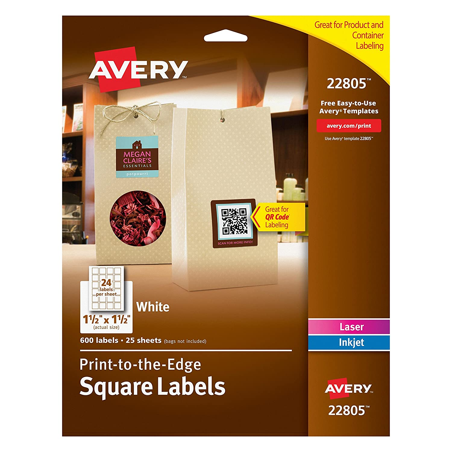 Amazon.com : Avery Permanent Square Label, White, Inkjet/Laser 1.5 ...