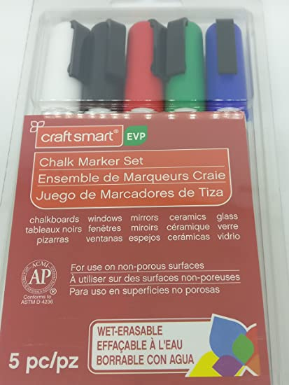Amazon.com: Craft Smart Chalk Marker 5 pc set, Red, White ...