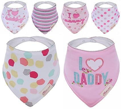 Bebedou - Baberos con adornos para bebé, 6unidades, superabsorbente, diseñ