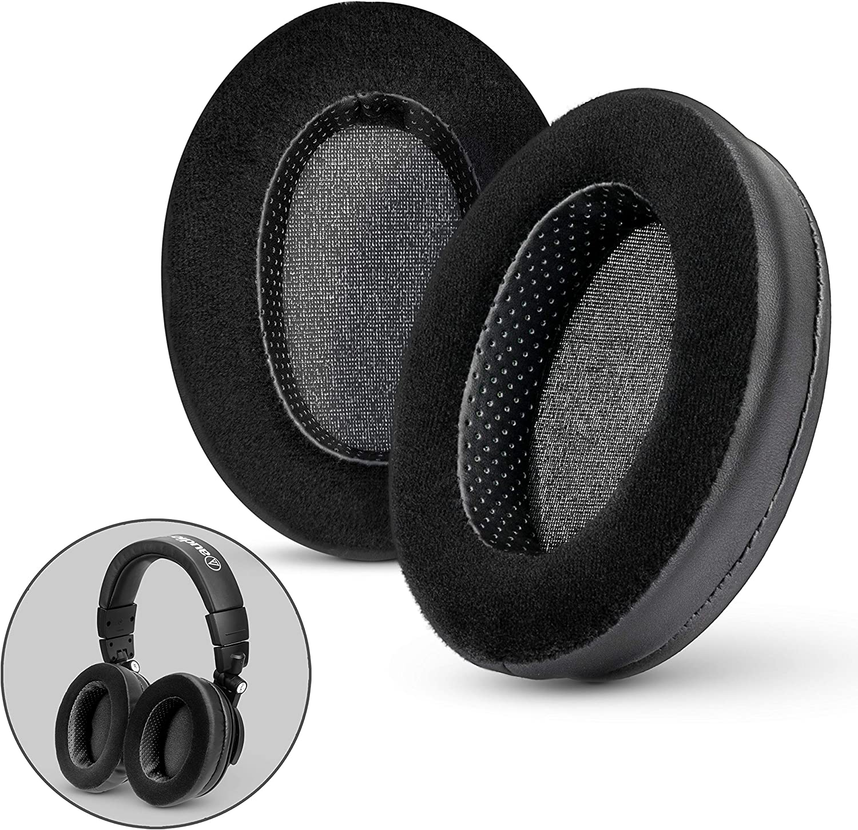 Brainwavz Hybrid Memory Foam Earpad - Black PU/Velour - Suitable for Large Over The Ear Headphones - AKG, HifiMan, ATH, Philips, Fostex