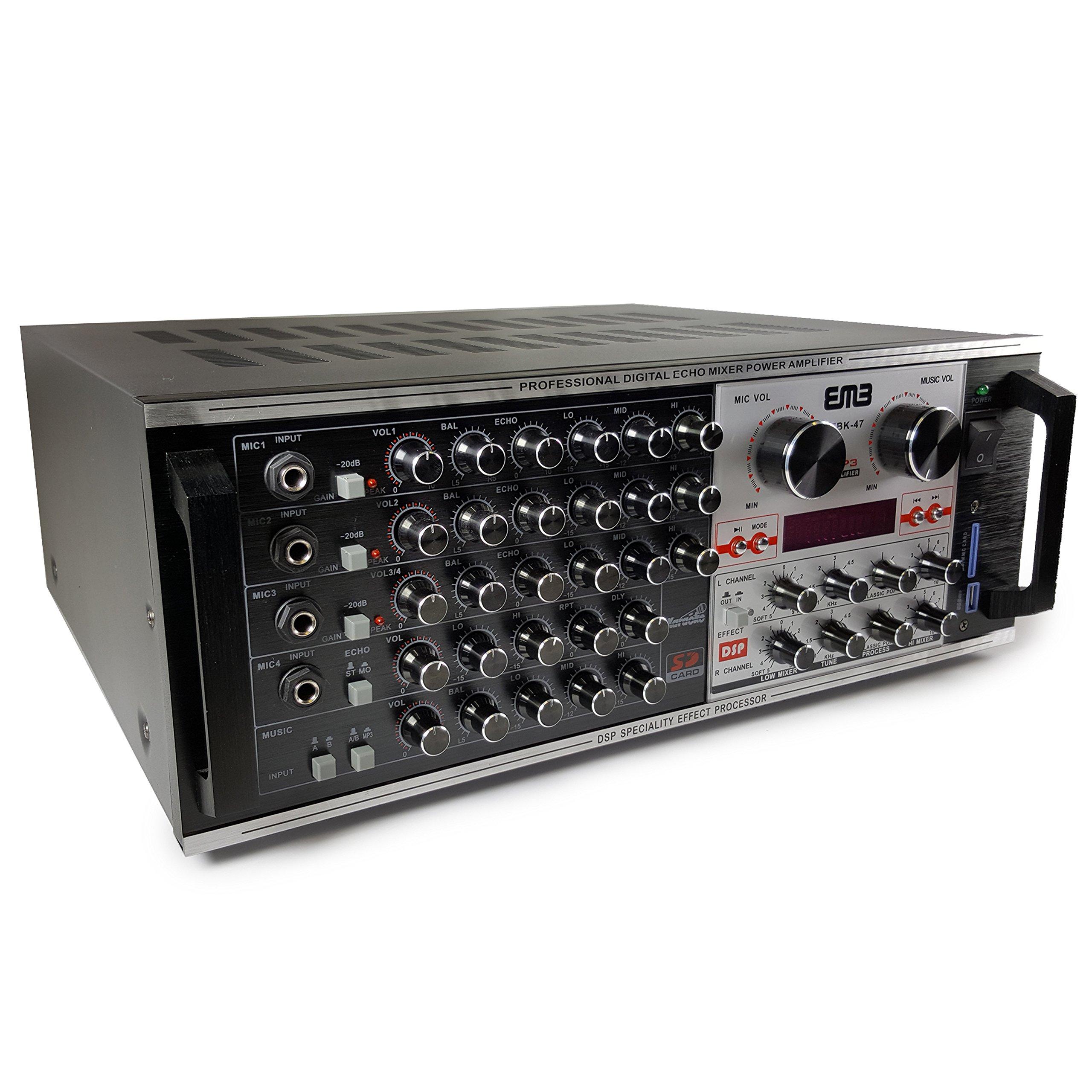 EMP Professional EBK47 1400W Karaoke Echo Power Mixing Amplifier DSP effect/USB/SD/MP3/WMA Player
