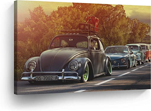 Sunset Many Volkswagen VW Beetle Bug on The Street Sepya Colors Canvas Print Decorative Vintage Art Rustic Wall Decor Artwork Wood Stretcher Bar
