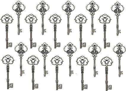 HM107 Youdiyla Vintage Skeleton Key in Antique Bronze Style Set of 46pcs
