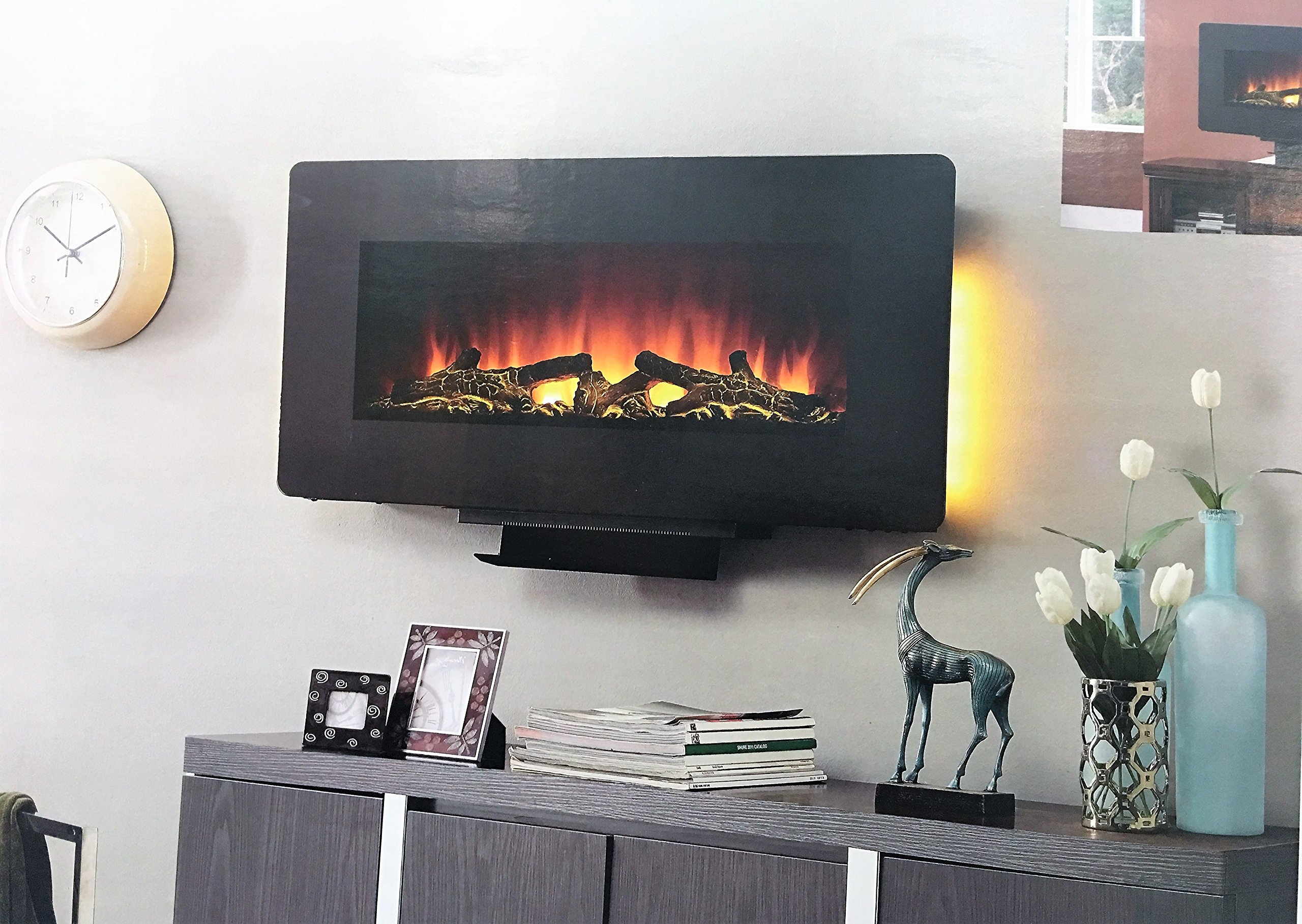 Amber Hearth 36'' Wall Mounted or Use with Stand Electric Fireplace with Remote Control