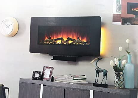 "Amazon.com: Amber Hearth 36"" Wall Mounted or Use with Stand Electric Fireplace with Remote Control: Home & Kitchen"