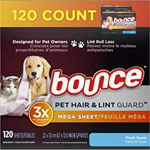 bounce Pet Hair and Lint Guard Mega Dryer Sheets with 3X Pet Hair Fighters, Fresh Scent, 120 Count