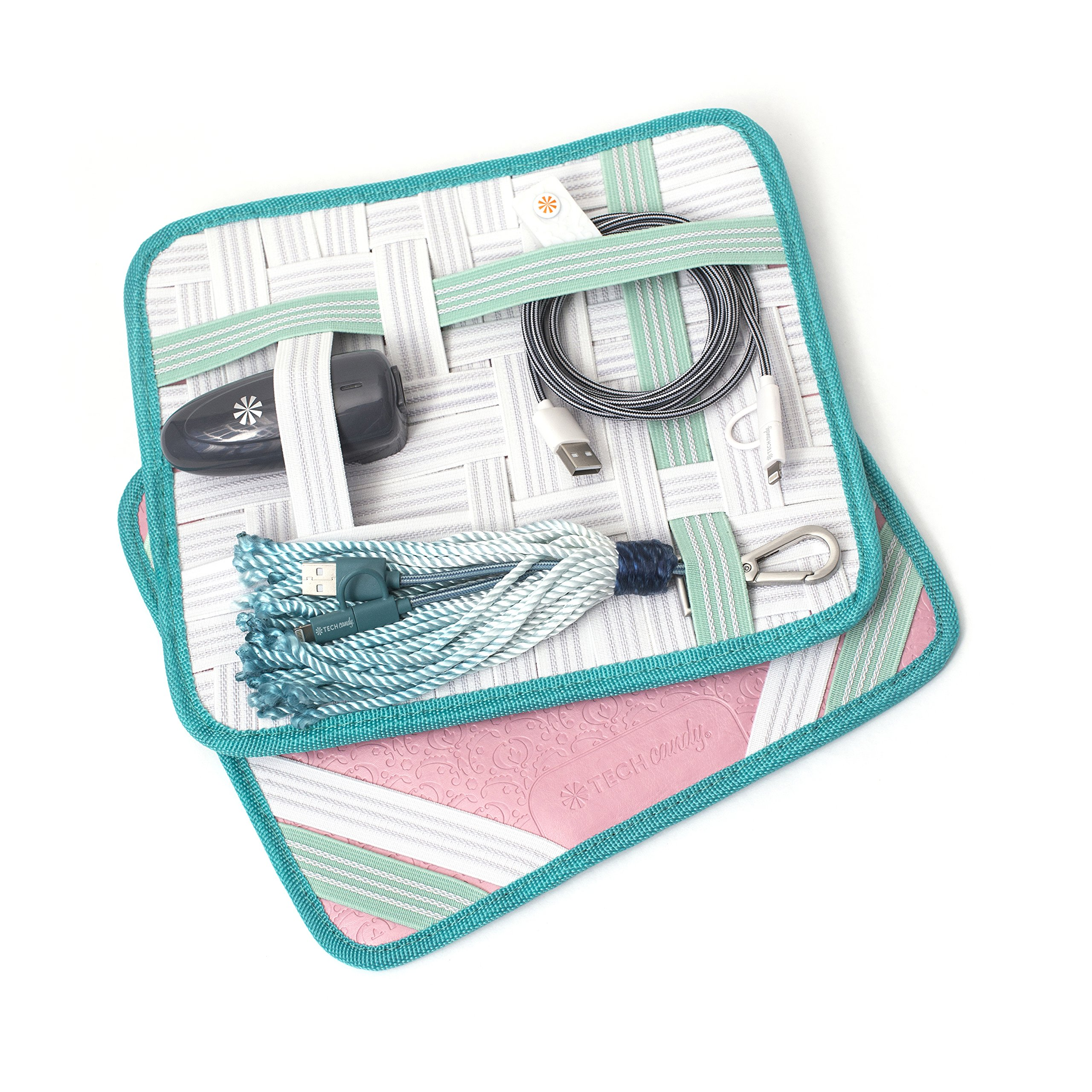 Tech Candy Travel Cases Criss Cross Caddy Rose Pink Mint Organizer Universally Compatible