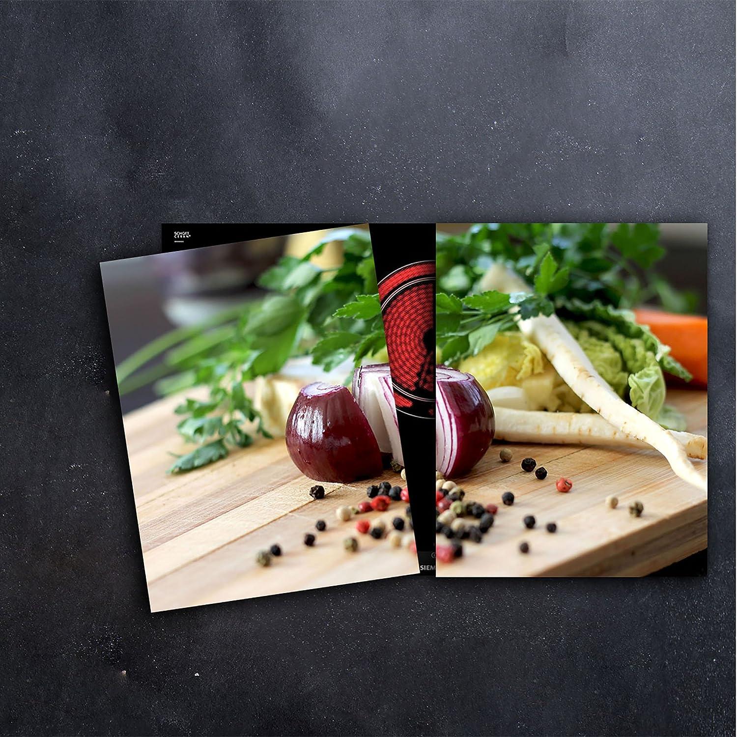 Glas-Herdabdeckplatte Ceranfeldabdeckung 2x40x52 Zweiteilig Holz