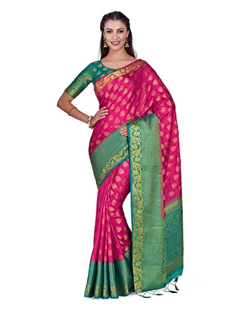 09cfeb4613c75b Mimosa Art silk saree Kanjivarm Pattu style With Contrast Blouse Color  Pink  (4279-285-2D-GAJ-SAFF)  Amazon.in  Clothing   Accessories