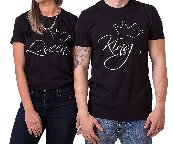 WhyKiki Line King Queen Partnerlook Camiseta de Los Pares Dulce para Parejas como Regalos: Amazon.es: Ropa y accesorios