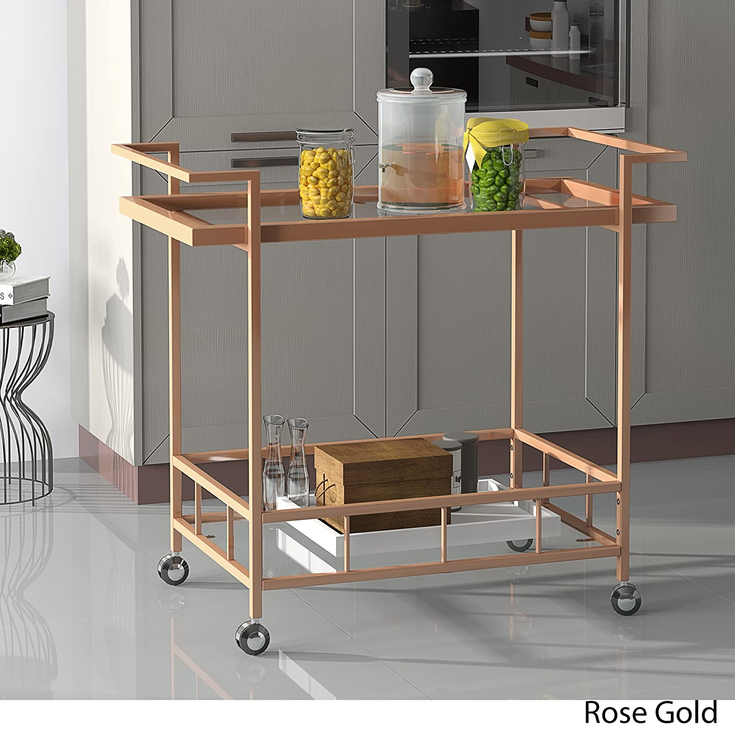 Amaya Industrial Iron and Glass Bar Cart, Rose Gold