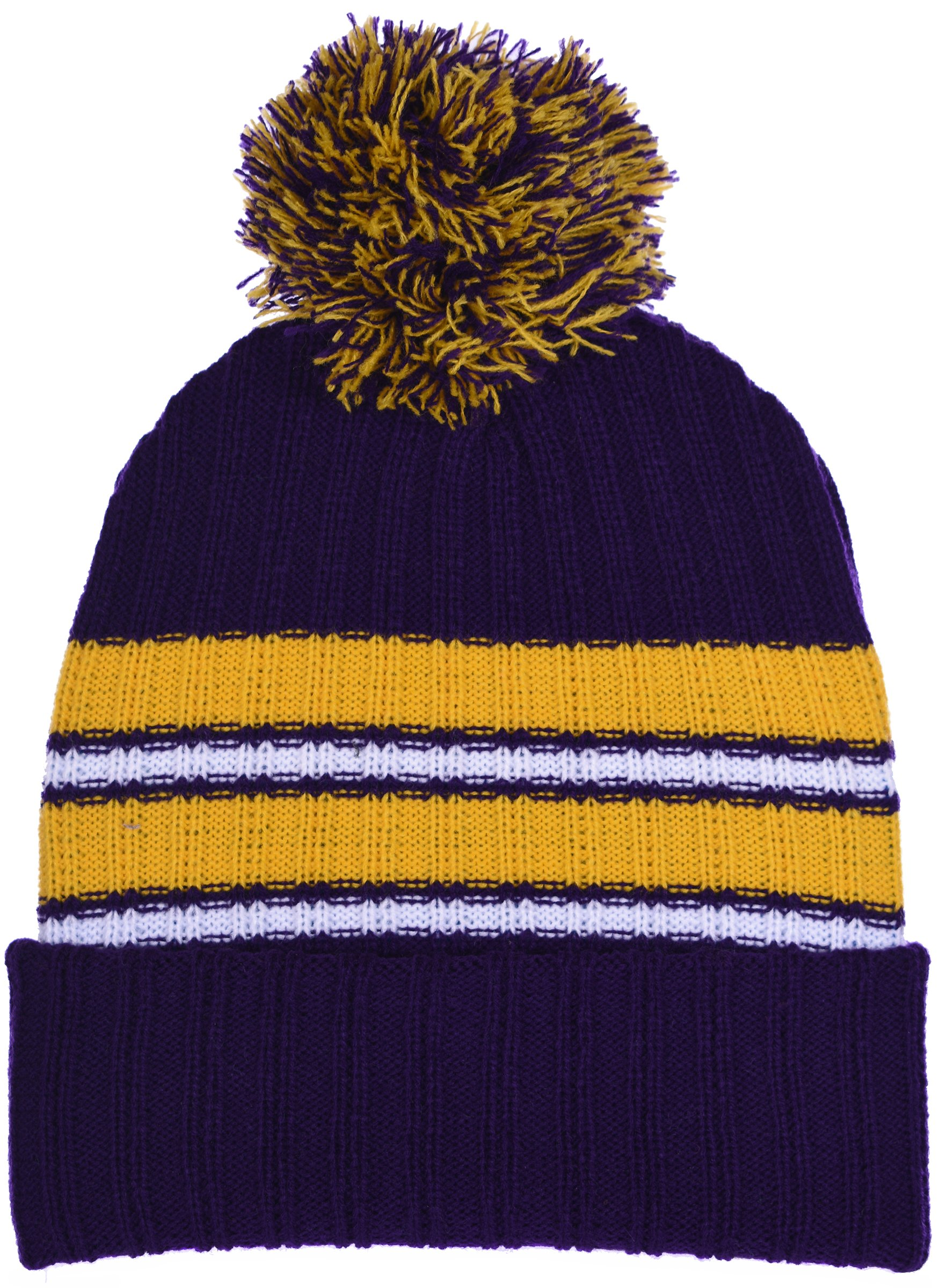 Polar Wear Boy's Cuffed Knit Hat with Pom and Stripes in 6 Color Combinations (Purple - Yellow)