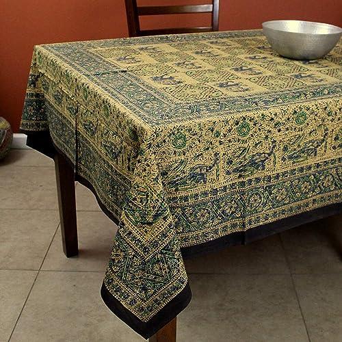 Homestead Elephant Block Print on Batik Cotton Tapestry Throw Tablecloth