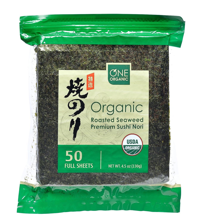 ONE ORGANIC Sushi Nori Premium Roasted Organic Seaweed (50 Full Sheets)