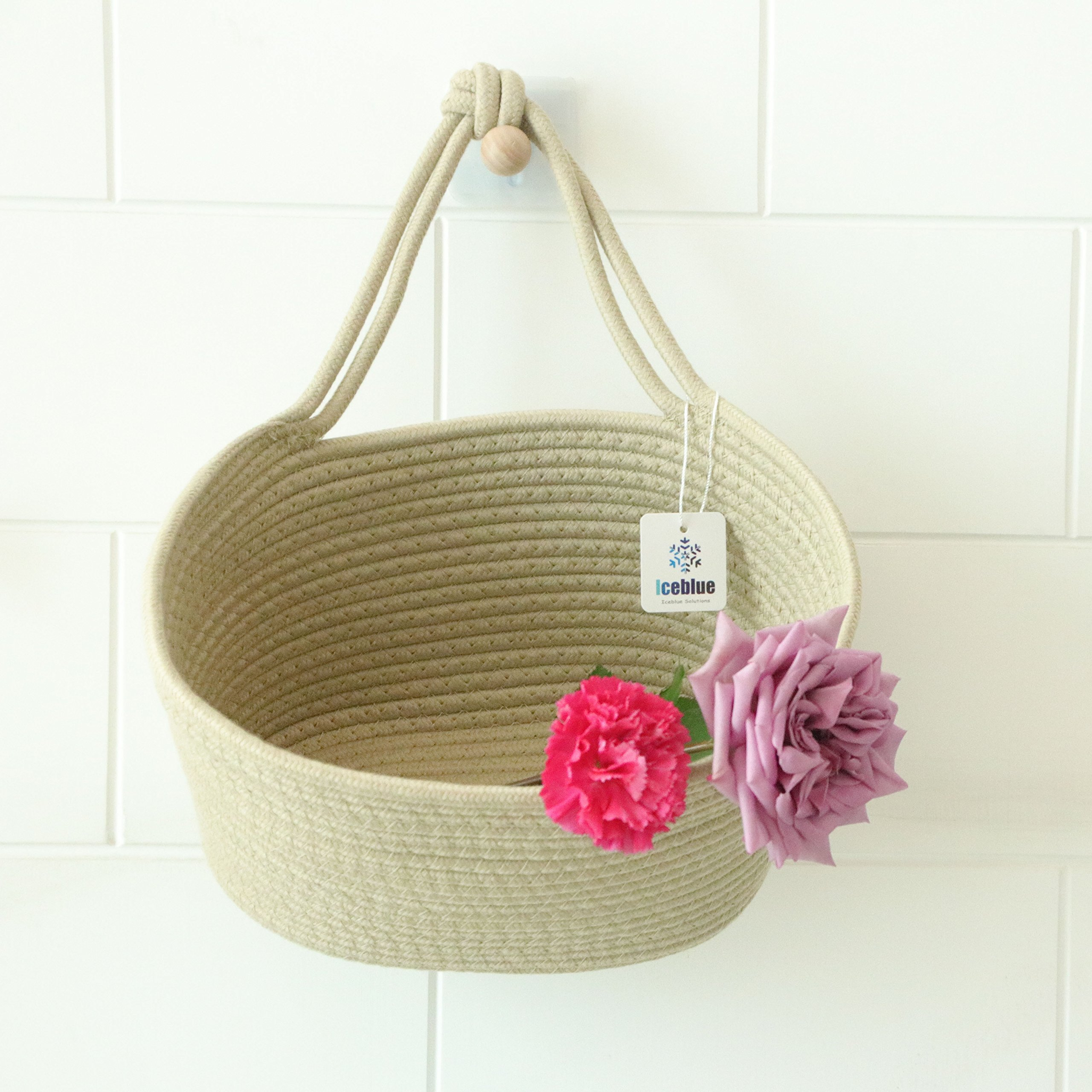 ICEBLUE 9.8''X5.9''X7'' Flaxen Oval Cotton Rope Over Wall Door Closet Window Hanging Storage Basket