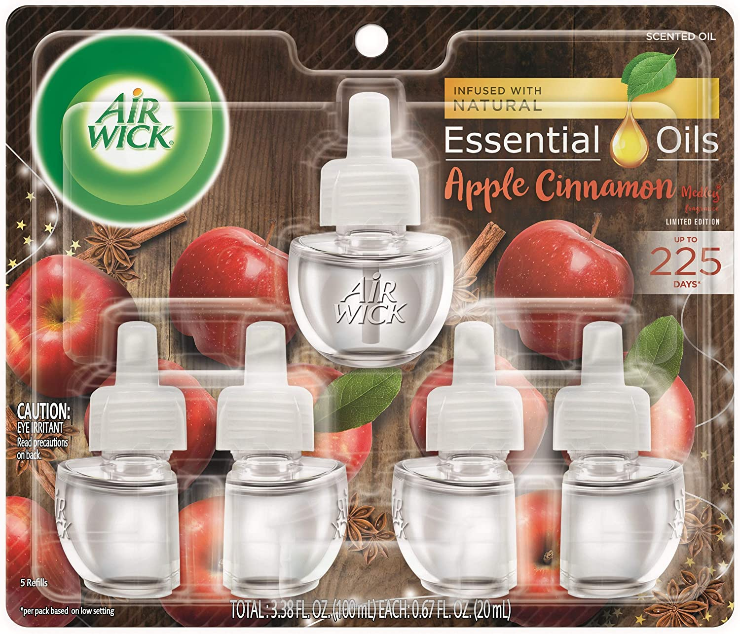 Air Wick plug in Scented Oil 5 Refills, Apple Cinnamon Medley, (0.67 Ounce (Pack of 5)), Essential Oils, Air Freshener