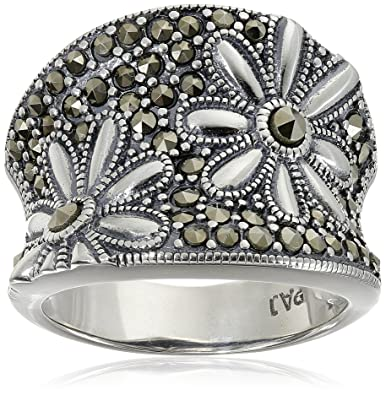 Amazoncom Sterling Silver Oxidized Marcasite Floral Ring Size 7