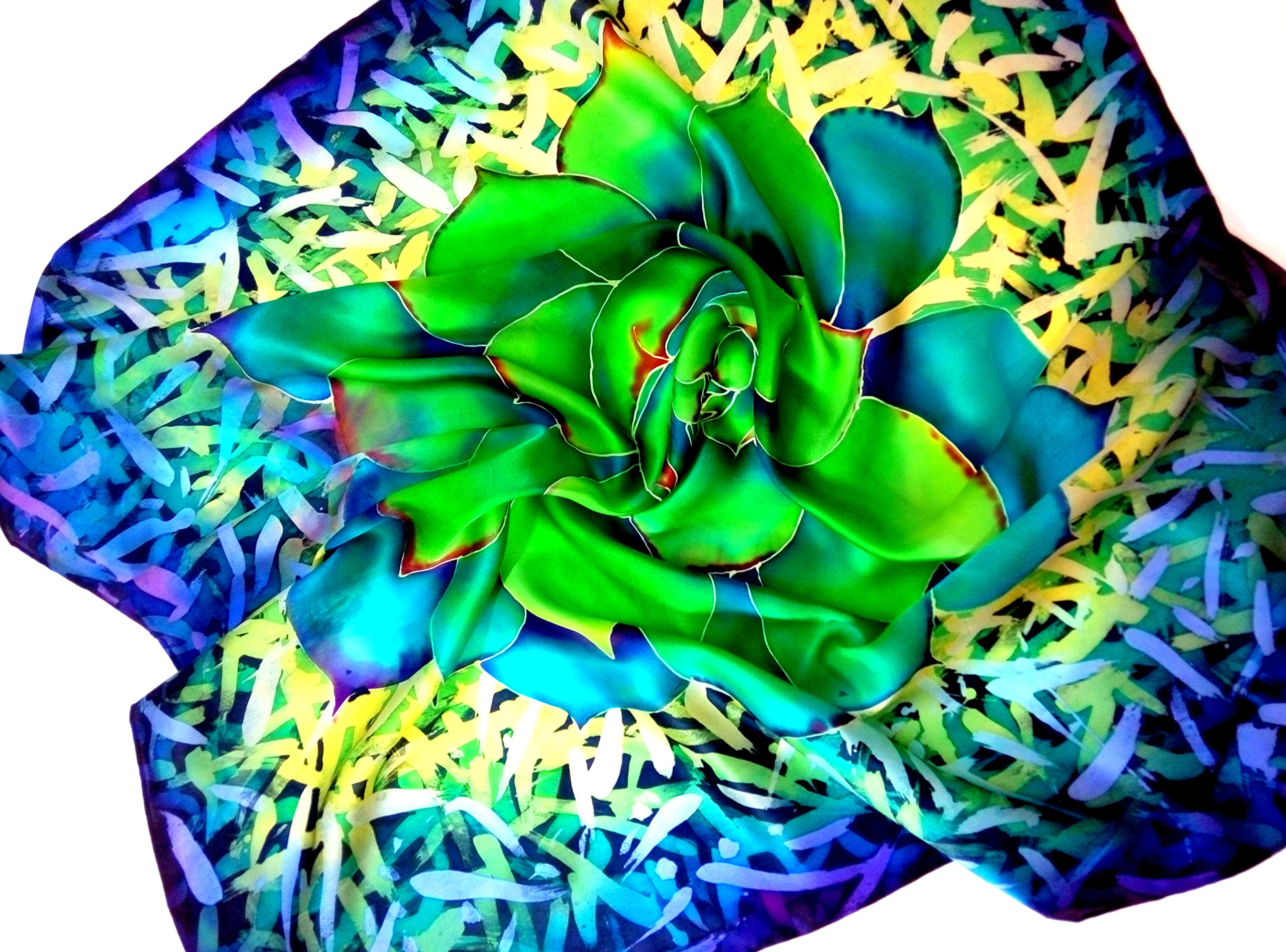 Large wraps shawl Succulent lovers gift Painted silk batik