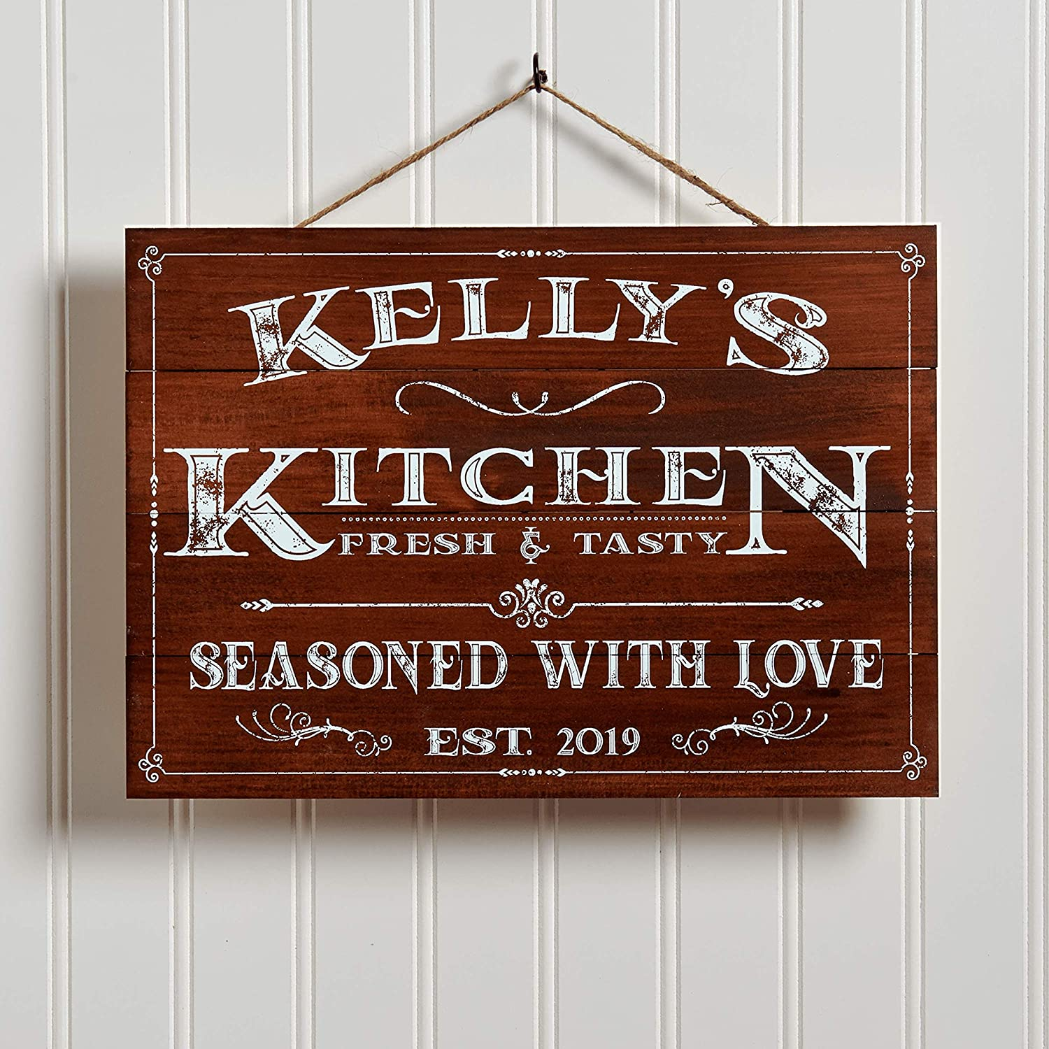Family Name Signs YILMEN Personalized Antique Wood Style Kitchen Wall Decoration Signs Farmhouse Kitchen Decoration Family Signs Wedding Gifts Housewarming Gifts