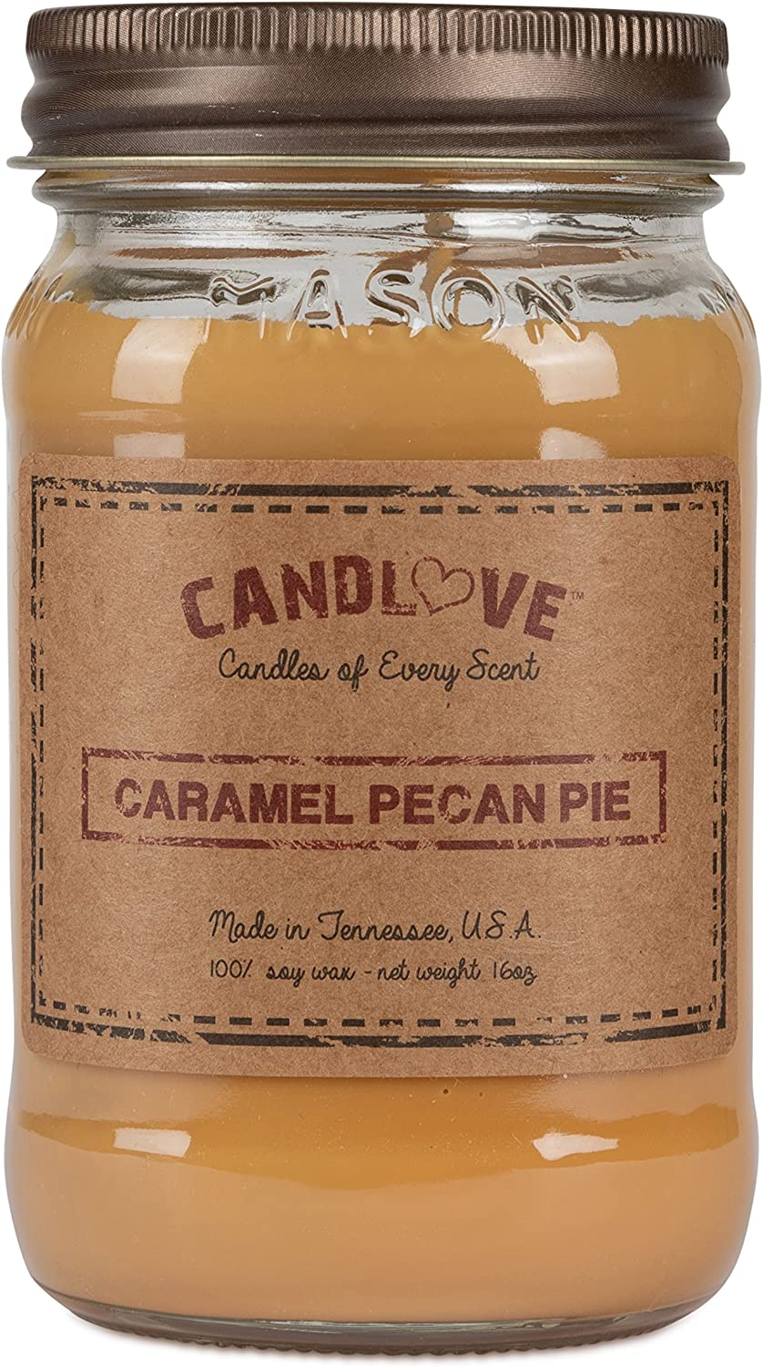 Candlove Caramel Pecan Pie Scented 16oz Mason Jar Candle 100% Soy Made in The USA