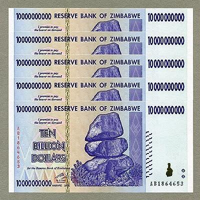 RBZ Zimbabwe 10 Billion Dollars x 5 pcs 2008 P85 consecutive UNC currency bills