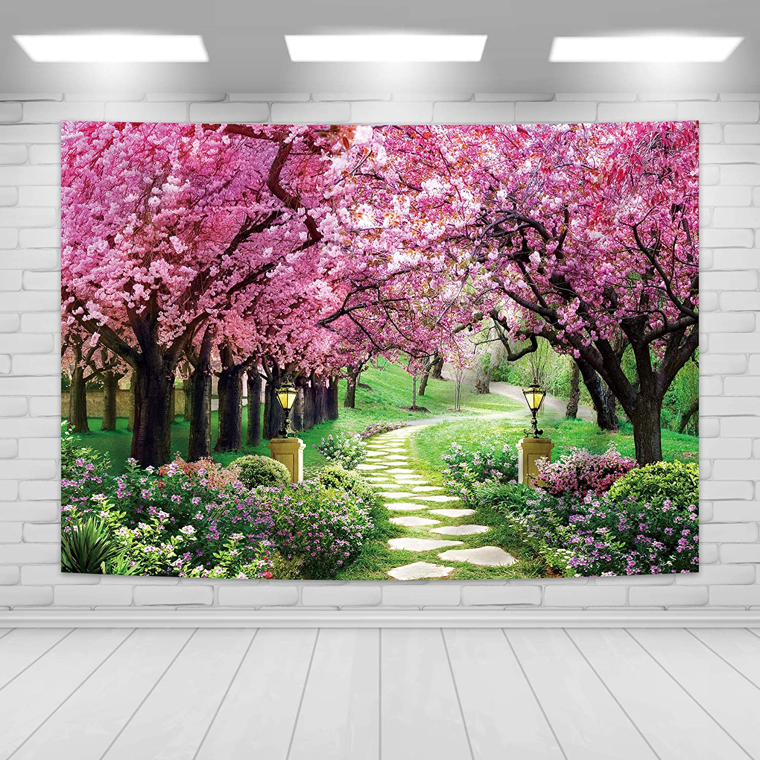 Imirell Cherry Blossom Backdrop 7Wx5H Feet Spring Garden Path Landsacpe Park Nature Scenic Wedding Baby Shower Birthday Photography Backgrounds Photo Shoot Decor Props Photo Shoot