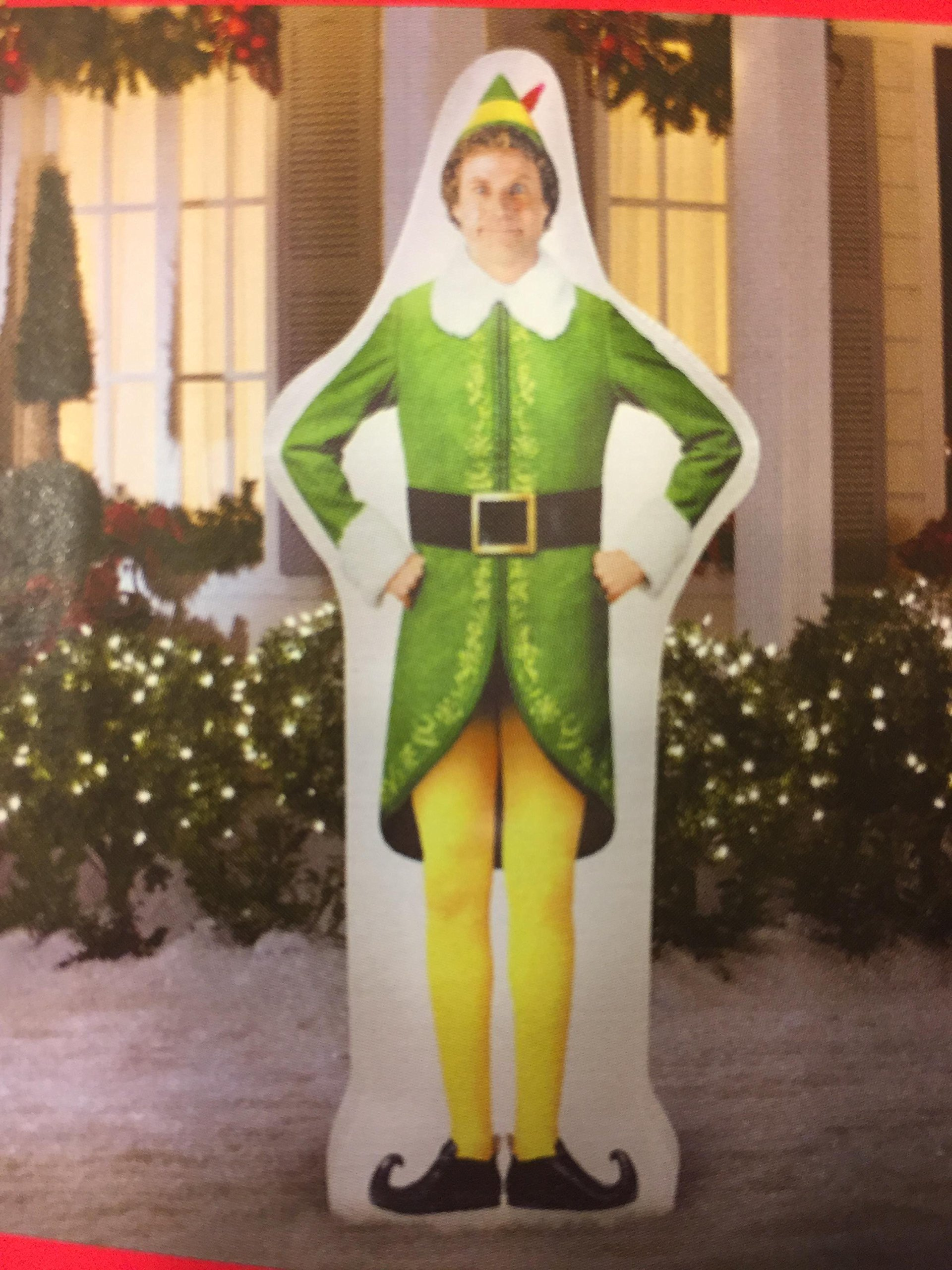 6 ft Elf Buddy lighted inflatable outdoor holiday yard art by