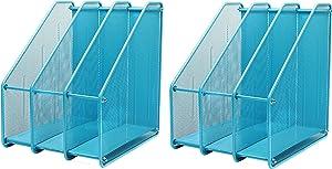 Exerz Mesh Metal Triple Desktop Magazine Holder Rack 2 Sets - 3 Compartments Documents/Notebooks/Folder/Organizer (3212 Blue x 2)