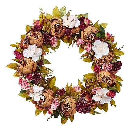 Amazon.com: Door Wreath Artificial Flowers Decoration Vintage Home ...