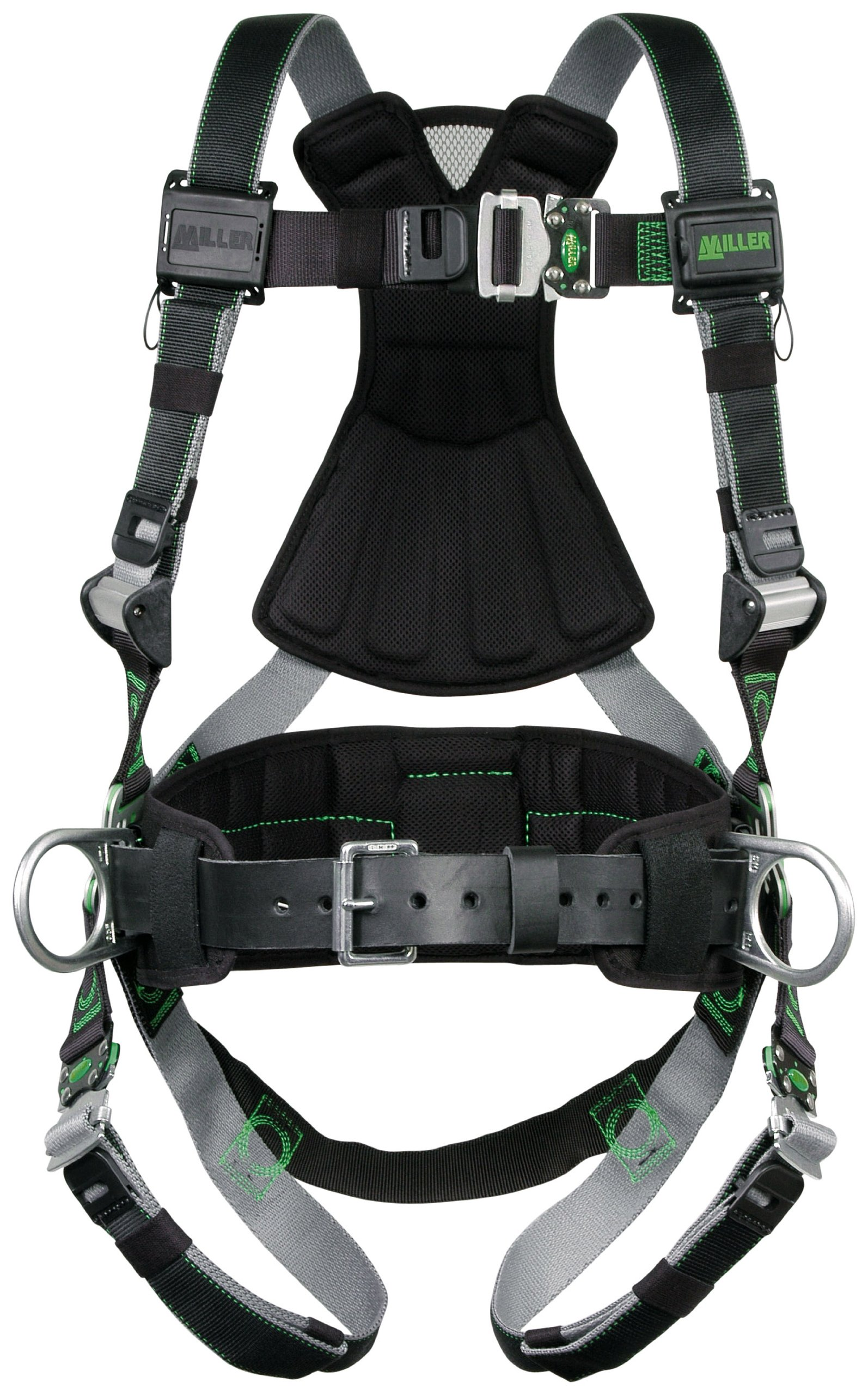 Miller RDT-QC-BDP/XXL/XXXLBK Revolution Harness with DualTech Webbing, Removable Belt, Side D-Rings and Pad and Quick-Connect Buckle Legs, Black, 2X/3X