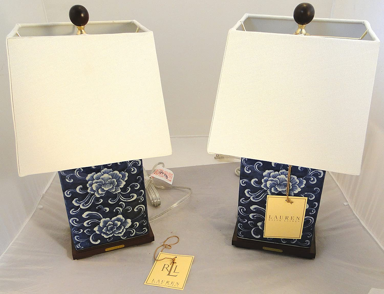 Pair Of Two (2) Ralph Lauren Mandarin Floral Blue U0026 White Traditional Porcelain  Table Lamps     Amazon.com