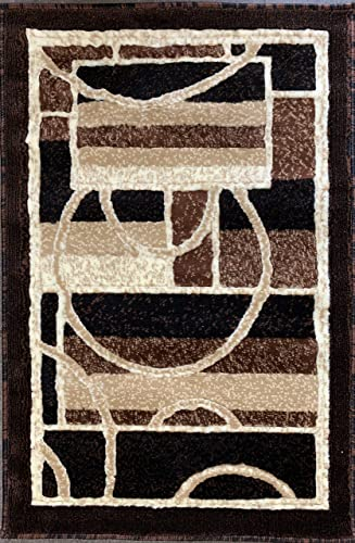 Modern Door Mat Area Rug Brown Design 115 2ft.x3ft.