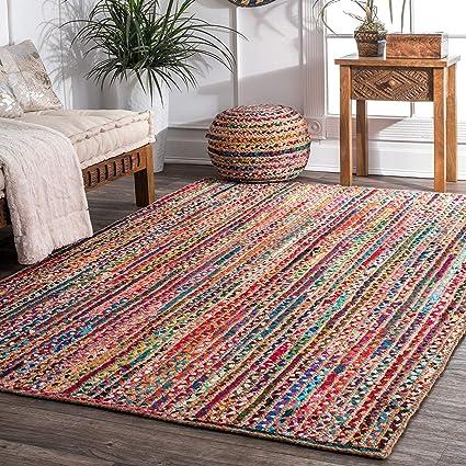 Jai Shri Shyam Cotton Chindi Braided Area Rug/Carpet/Handmade Floor Rug 3×5 ft