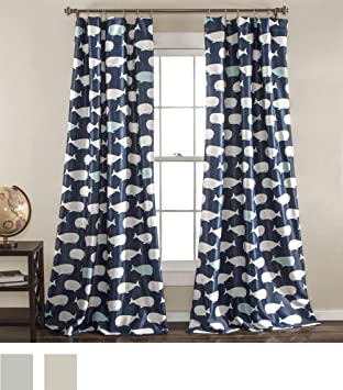 Lush Decor Whale Window Curtain Panel Pair, 84 Inch X 52 Inch, Navy,