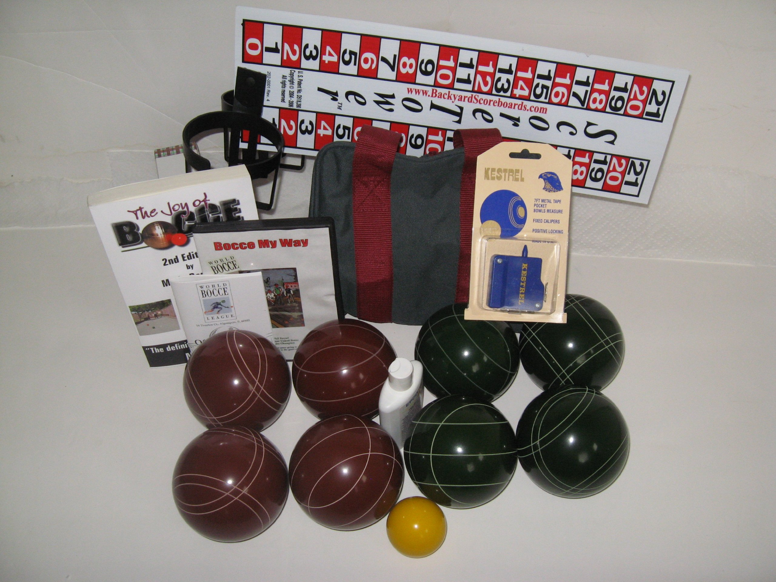 Everything Bocce Package - 110mm Epco Red and Green Balls, Score Tower, High ...