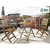 SAM® 3tlg. Gartengruppe, Akazien-Holz FSC® 100% Massiv geölt, 1x Tisch + 2x Klappstuhl mit Armlehnen, klappbar