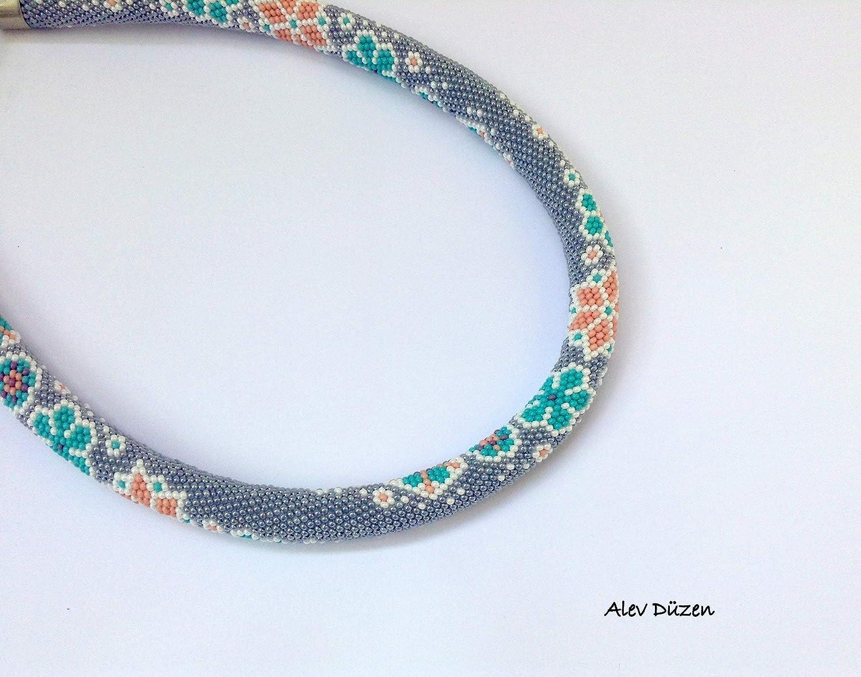 Amazoncom Flowers Bead Crochet Necklace Gray Beaded Necklace