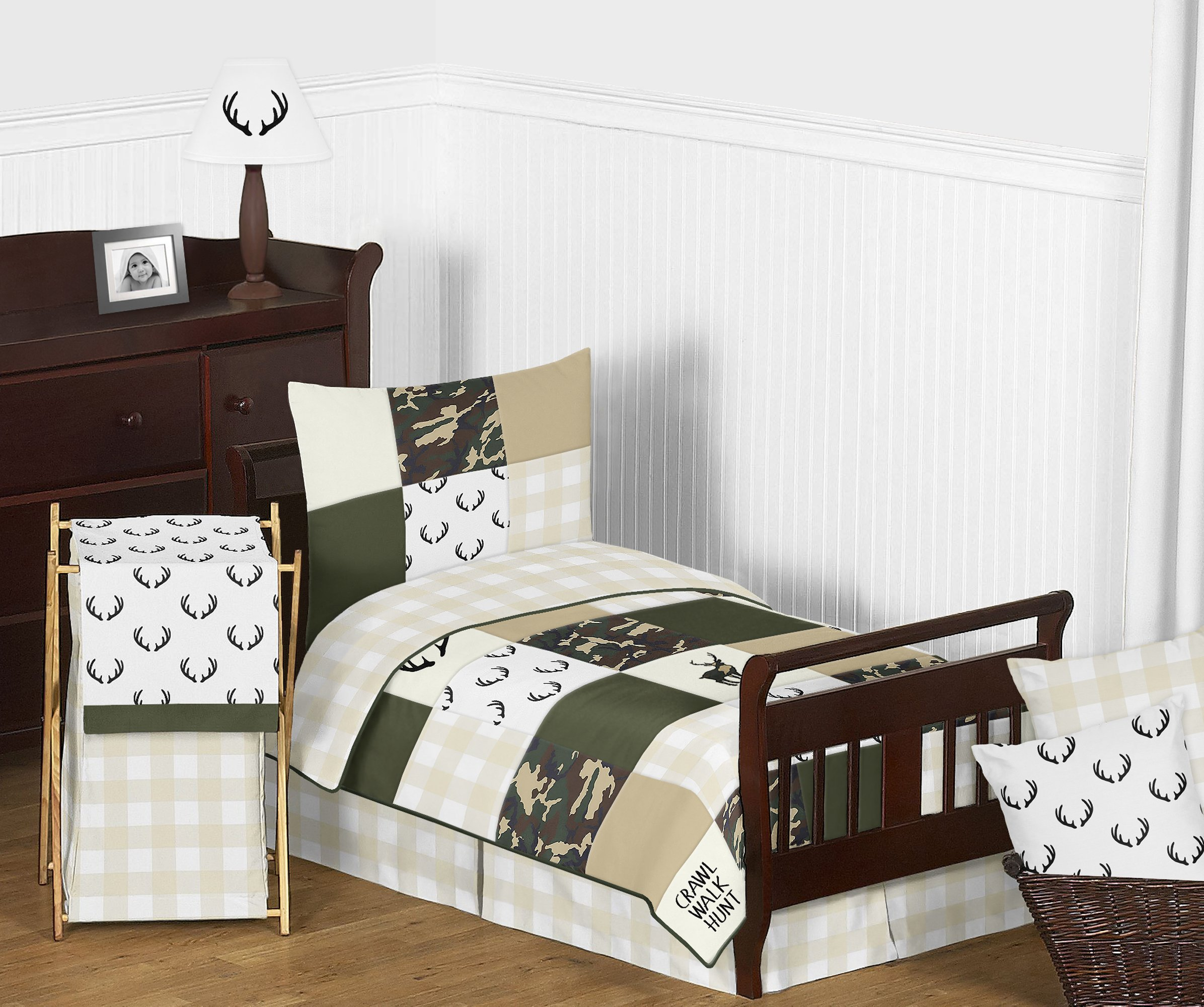 Sweet JoJo Designs Solid Dark Green Baby or Toddler Fitted Crib Sheet for Woodland Camo Collection by Sweet Jojo Designs (Image #3)