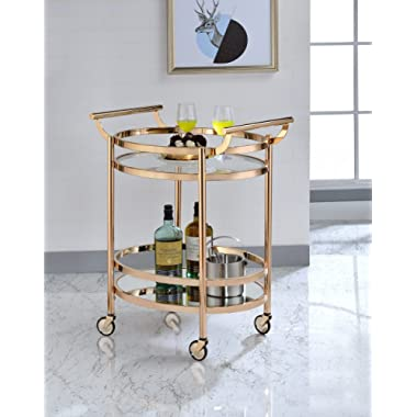 Acme Lakelyn Serving Cart, One Size, Clear Glass and Rose Gold