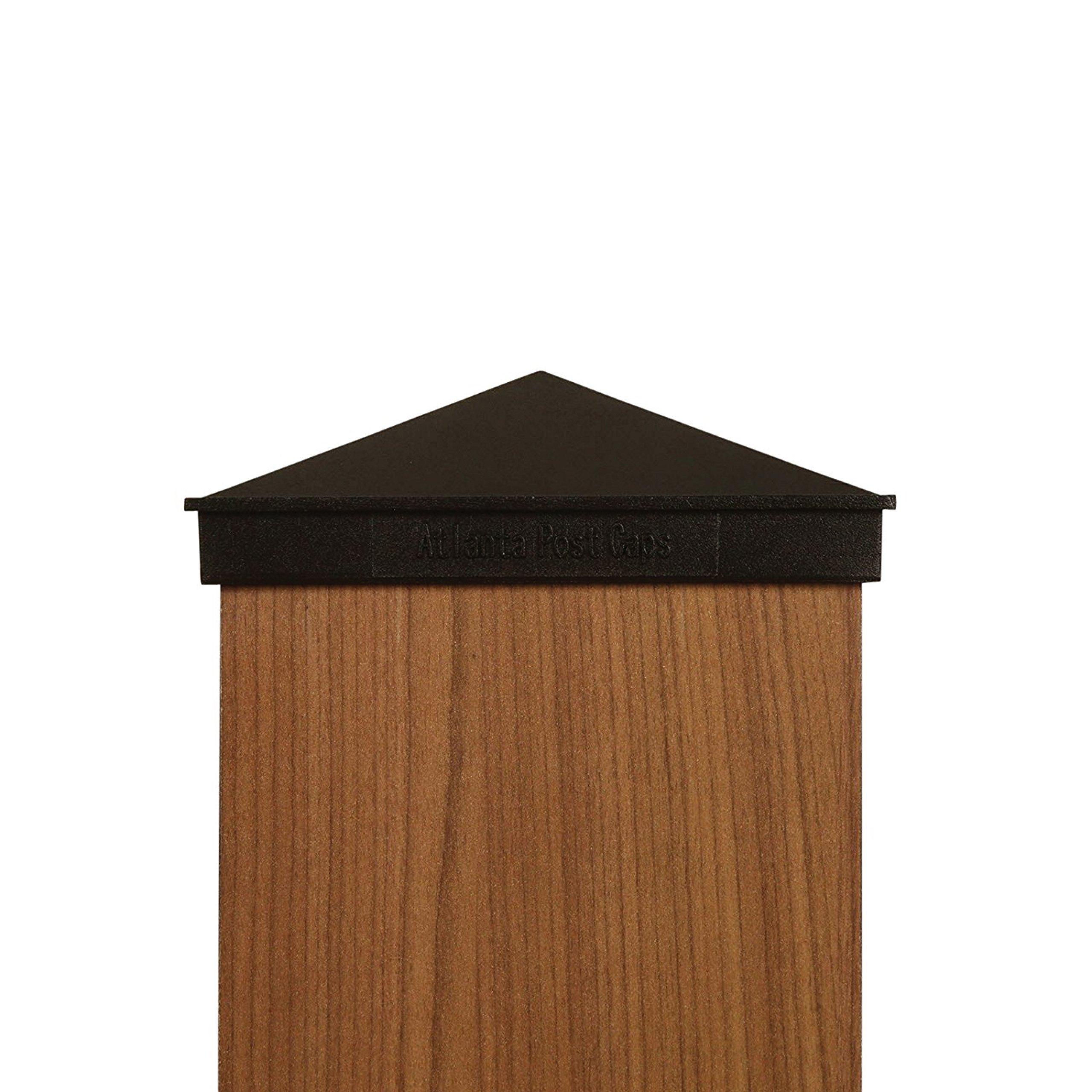 6x6 Post Cap | Black Pyramid Aluminum Coated Square Cap for Outdoor Fences, Mailboxes and Decks by Atlanta Post Caps
