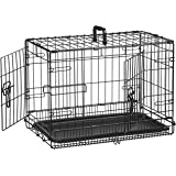AmazonBasics Double Door Folding Metal Dog Cage with Paw Protector (22 inches)